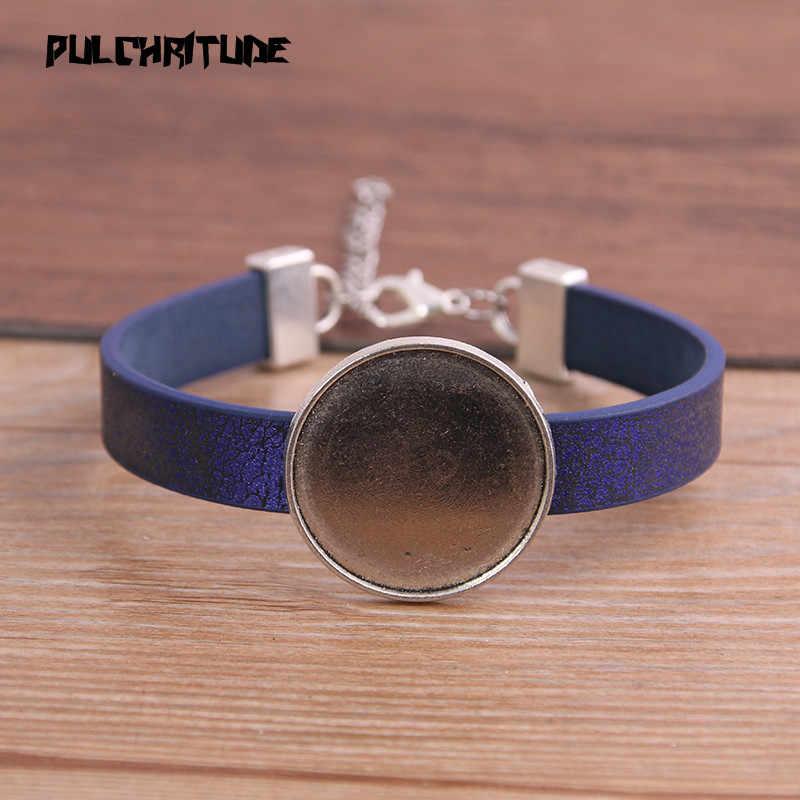 1 pièces 6 couleur motif bracelet en cuir synthétique polyuréthane argent Base ronde réglage manchette plateaux vierges brasero ajustement 25mm verre camée dôme Cabochon bijoux à bricoler soi-même