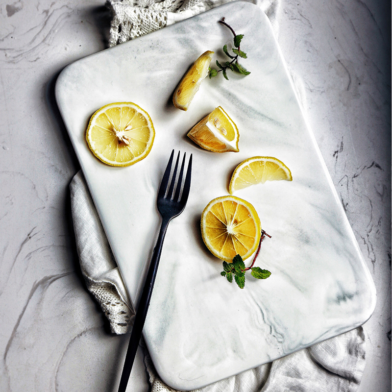 Stile europeo Marmo Manico In Legno Pane Piatto Piatto Da Dessert Piatto Piatto di Sushi di Frutta/Dessert/Torta Piatto Buccia di Pizza Pane bordo Vassoio Del Tè