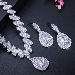 Image 3 - CWWZircons High Quality Cubic Zirconia Wedding Necklace and Earrings Luxury Crystal Bridal Jewelry Sets for Bridesmaids T109