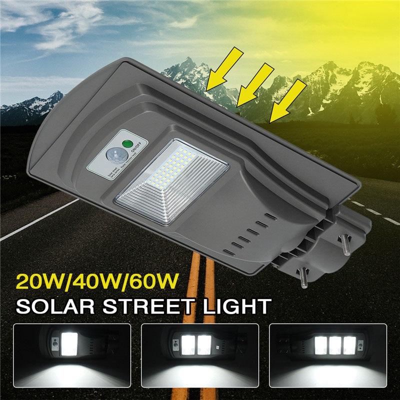LED Solar Street Light 20W40W60W Super Bright Radar Motion Sensor Waterproof Security Lamp for Garden Yard Wall Light (20)