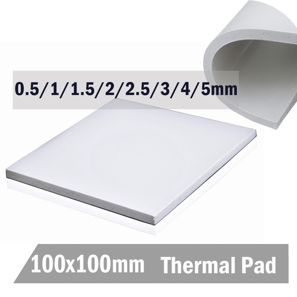 Gdstime 100mm*100mm*5mm White IC Chip Conduction Heatsink 0.5mm 1mm 1.5mm 2mm 3mm 4mm 5mm Thermal Pads Compounds Silicone Pad