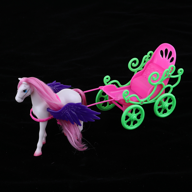 1/6 Princess Doll Playset Horse with Wing Carriage Kids Play House Toy Accessories 3