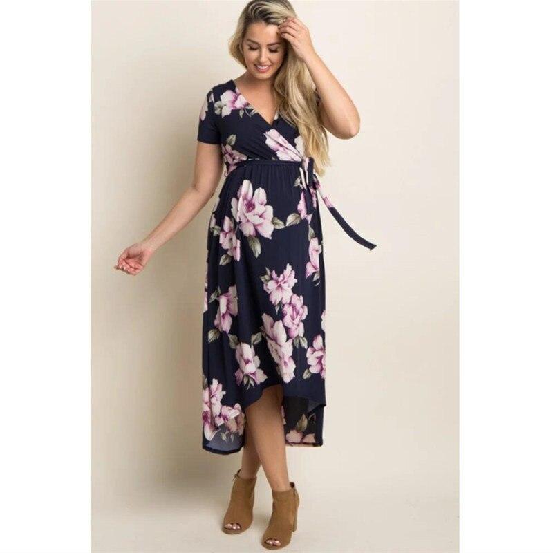 2019 Summer V-neck Long Maternity Dresses For Pregnant Women Clothes Print Pregnancy Dress Gravidas Vestidos Maternity Clothing