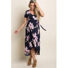 2019 lato dekolt w serek z długim ciążowe sukienki dla kobiet w ciąży kobiety ubrania druku sukienka ciąży Gravidas Vestidos odzież ciążowa