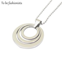 Handmade Jewellery Big Silver Multi Circle Opal Pendant Necklace With Floating Locket For Girl With Chain