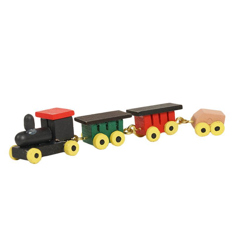 1:12 Solid Wood Color Doll House Miniature Accessories Children's Bedroom Toy Furniture Dollhouse Mini Train Miniaturas