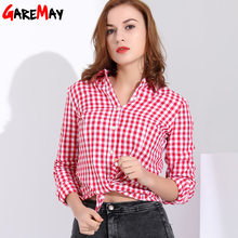 Garemay Women Shirts Feminine Blouses Cotton Plaid Shirt Women Long Sleeve Womens Tops And Blouses Spring 2019 Clothes Chemise(China)