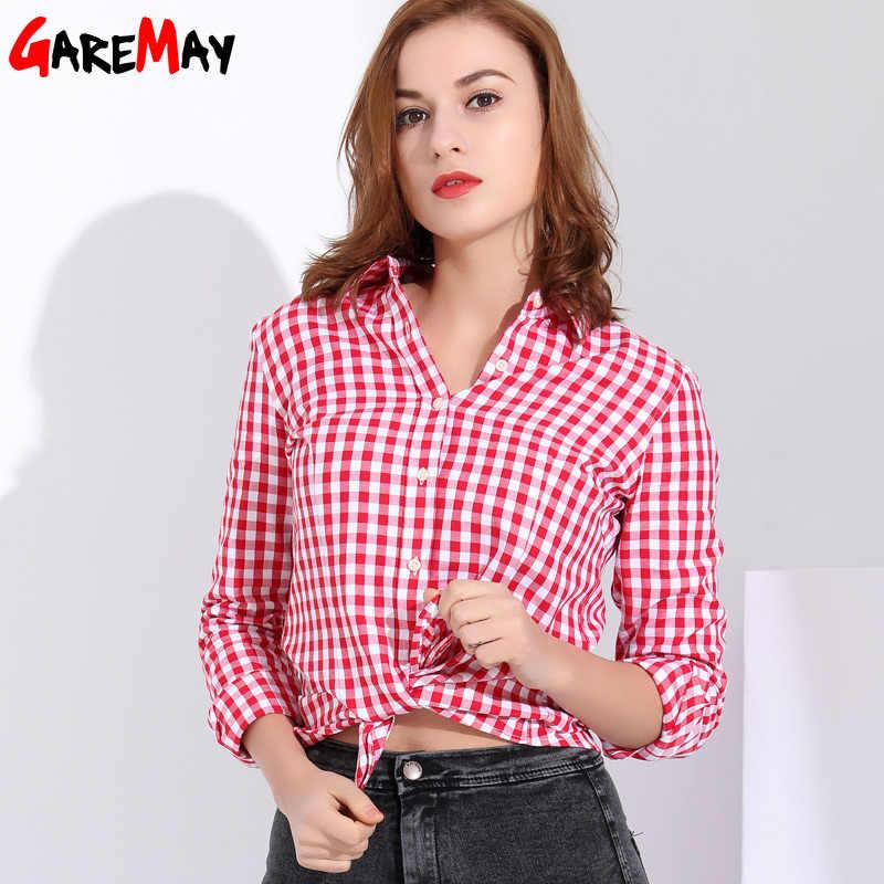 d4edae412cf Garemay женские рубашки женские блузки хлопковая клетчатая рубашка женская  с длинным рукавом Женские топы и блузки