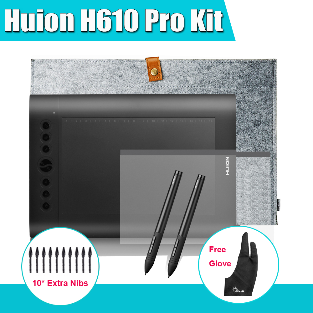 2 Pens Huion H610 Pro Art Graphics Drawing Digital Tablet Kit + Protective Film + 15-inch Liner Bag + Parblo Glove 10 Extra Nibs