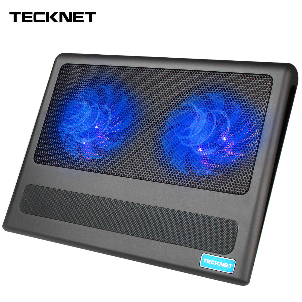 "Image 1 - TeckNet Portable Laptop Notebook Cooling Pad Stand 2 Fans USB Quiet Laptop Cooler Fits 9"" 16""-in Laptop Cooling Pads from Computer & Office"