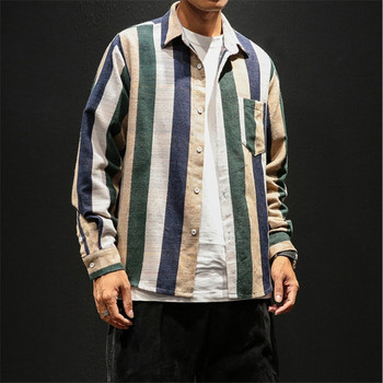Male Summer Striped Shirt Long Sleeve Casual Slim Fit Hip Hop Streetwear Men Shirt Cotton Linen Casual Shirt Fashion  Clothes