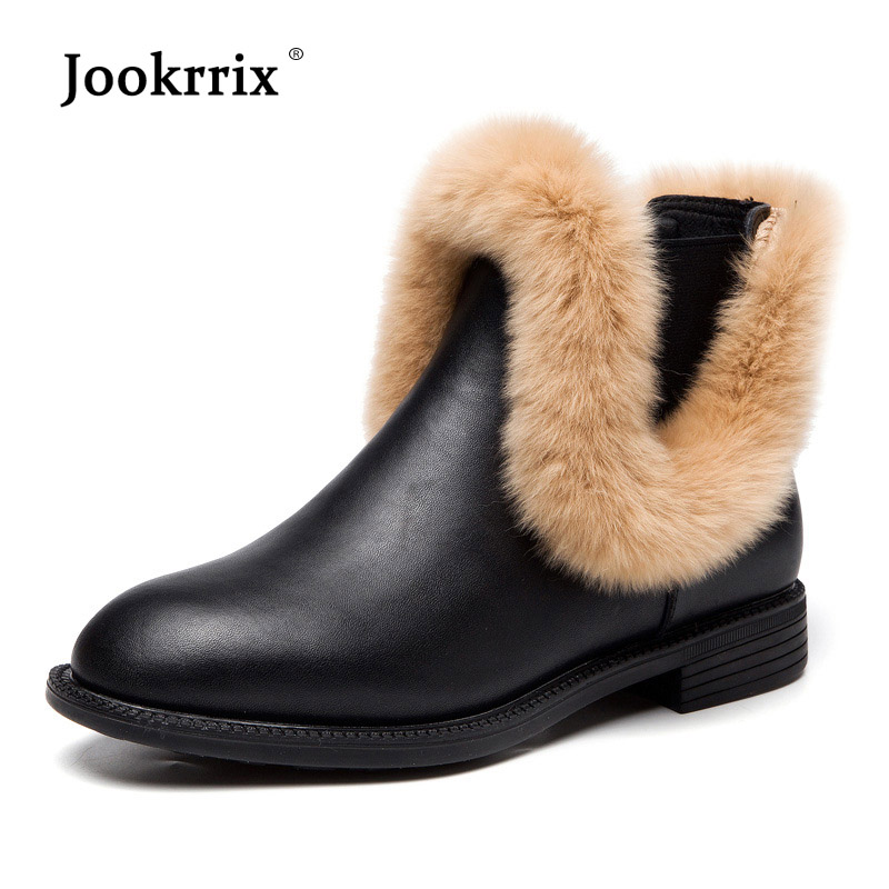 Jookrrix Winter Warm Shoes Women Fashion Brand Real Leather Ankle Boots Lady chaussure Autumn Female footware Plush Breathable