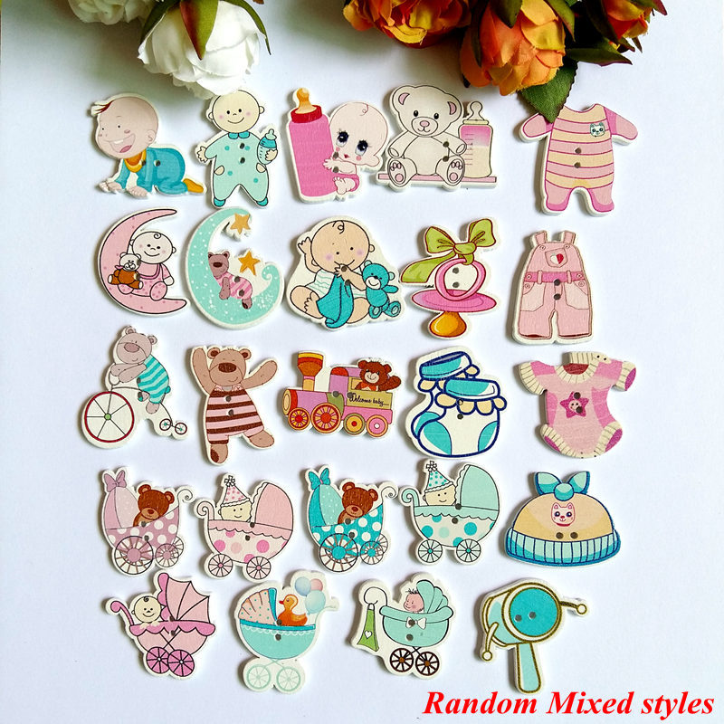 80pcs/lot Hot sale Wholesale Mixed baby 2 Hole Wood Button Craft Sewing Scrapbooking For Decor Accessories Tools