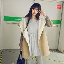 fleece cardigans women 2017 autumn/winter warm thicken women wool coat long loose casual hooded imitation lamb women jacket