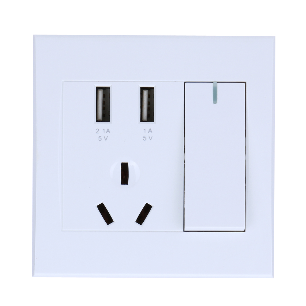 Dual USB Port LED 2.1A Electric Wall Charger Adapter EU Plug Socket Switch Power Dock Station Charging Outlet Panel цена