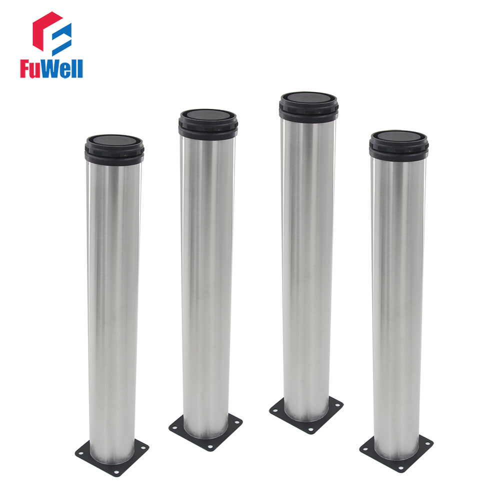 4pcs 450mm Height Adjustable Furniture Legs Silver Tone Stainless Steel Table Bed Sofa Leveling Feet Cabinet Legs 4pcs 150mm height furniture legs adjustable 10 15mm cabinet feet silver tone stainless steel leveling feet for table bed sofa