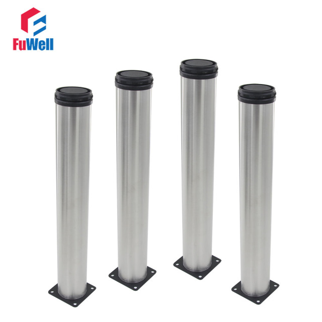 4pcs 450mm Height Adjustable Furniture Legs Silver Tone Stainless Steel  Table Bed Sofa Leveling Feet Cabinet