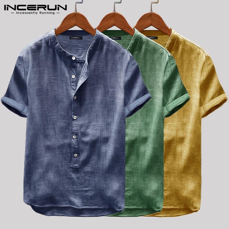INCERUN 2020 Men Shirt Vintage Short Sleeve Solid Color Harajuku Summer Casual Shirts Men Chemise Breathable Brand Tops S-5XL