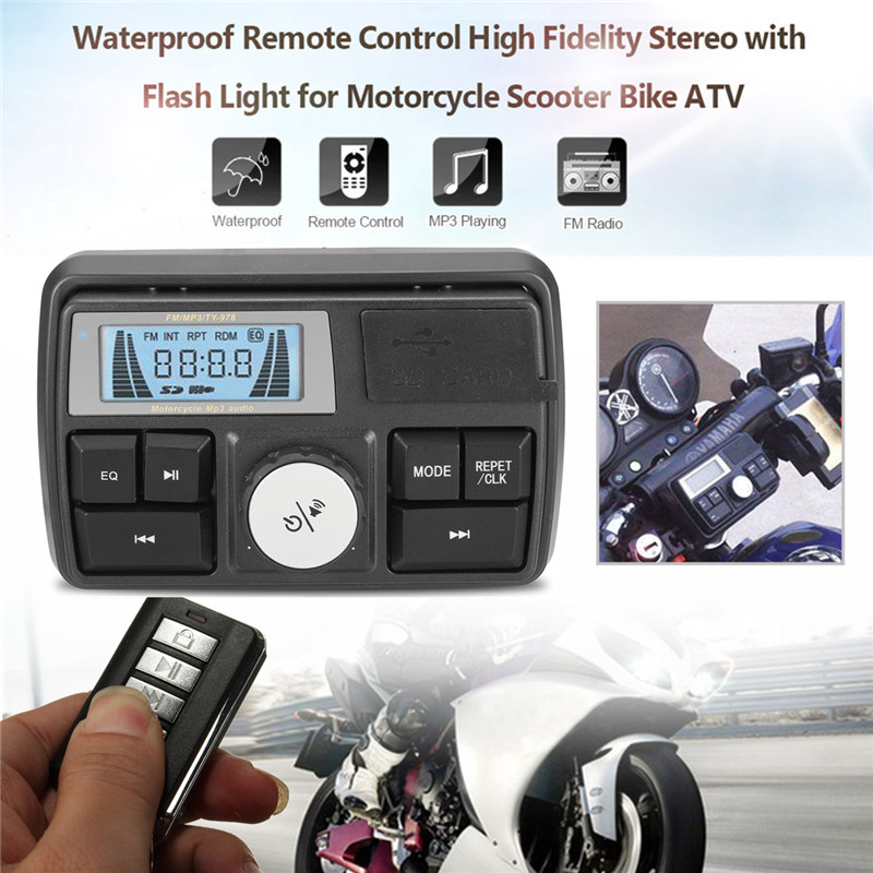 12V Bluetooth Waterproof Anti-Theft Motorcycle Audio FM MP3 Sound Player System Support USB/SD/TF Clock Built-in Microphone Ring motorcycle handlebar car audio fm tf mp3 usb sd handle bar stereo 2 speakers amplifier sound system alarm motorbike anti theft
