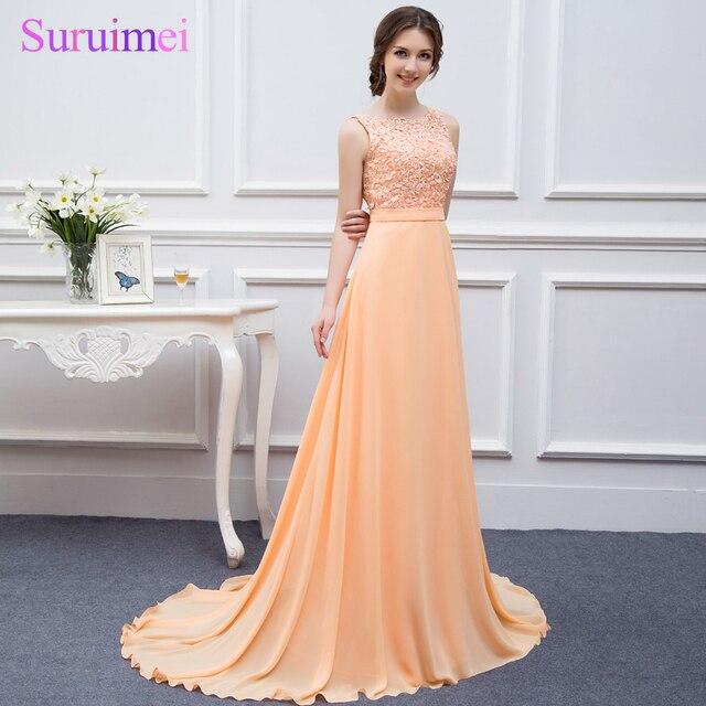 b778671fb78 On Sale High Quality Nude Back Chiffon Lace Peach Color Cheap Bridesmaids  Dresses 2018 Brides Maid of Wedding Bridesmaid Dress