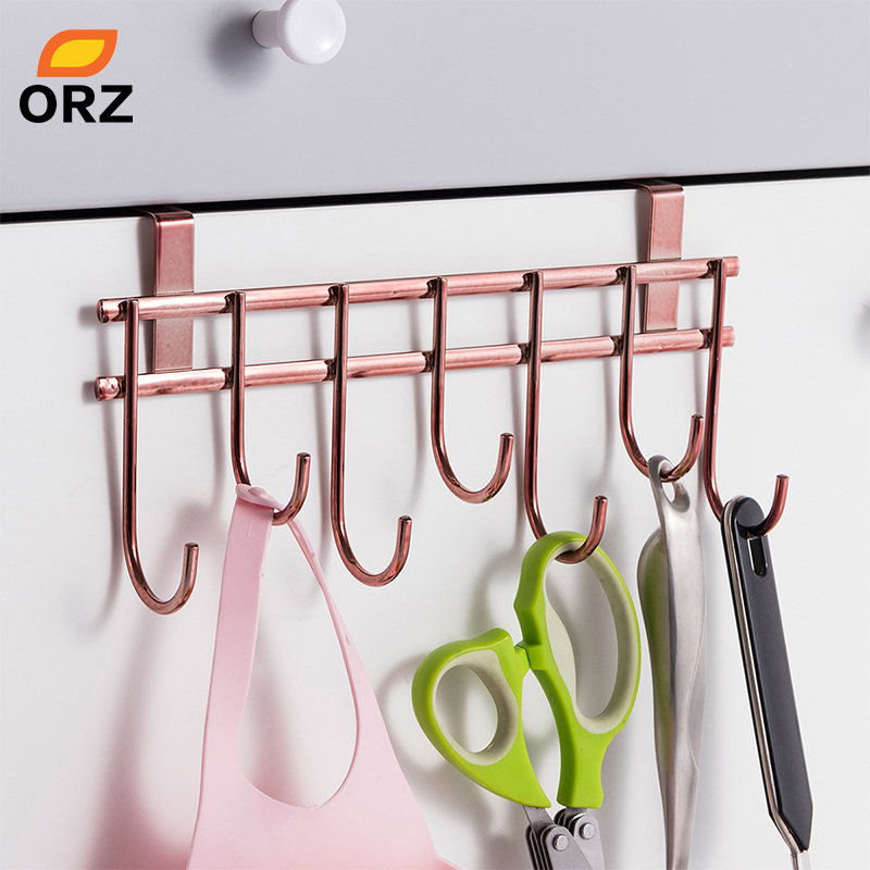 ORZ Rose Gold Cabinet Door Hanger Hook Kitchen Storage Organizer Towel Holder Rack Bathroom Organizer Shelf Key Holder Hook
