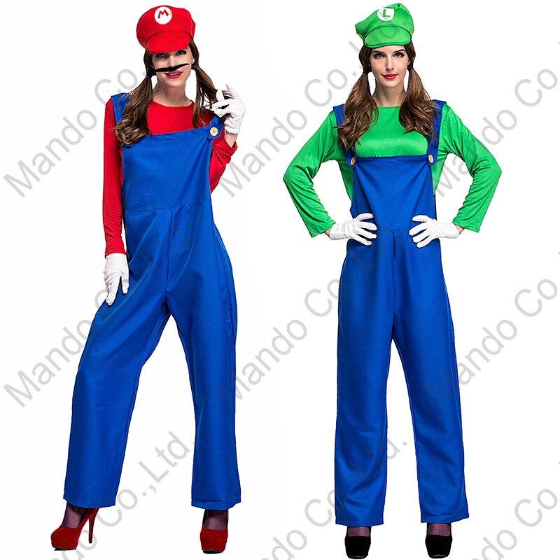 Masquerade party costume Dress Adult Unisex Super Mario brothers Luigi Cosplay costume Halloween plumber romper