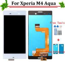 100% garantie lcd display + touch screen glas digitizer assembly für sony xperia m4 aqua e2303 e2306