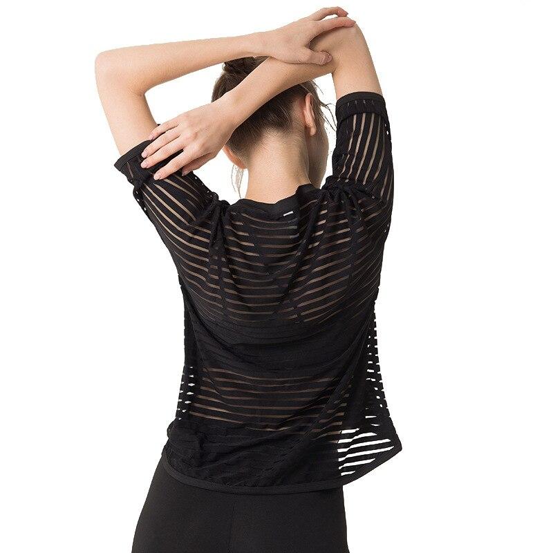 ①  Женская сплошная цветная йога с коротким рукавом сзади Сексуальная прозрачная спортивная линия с кор ★