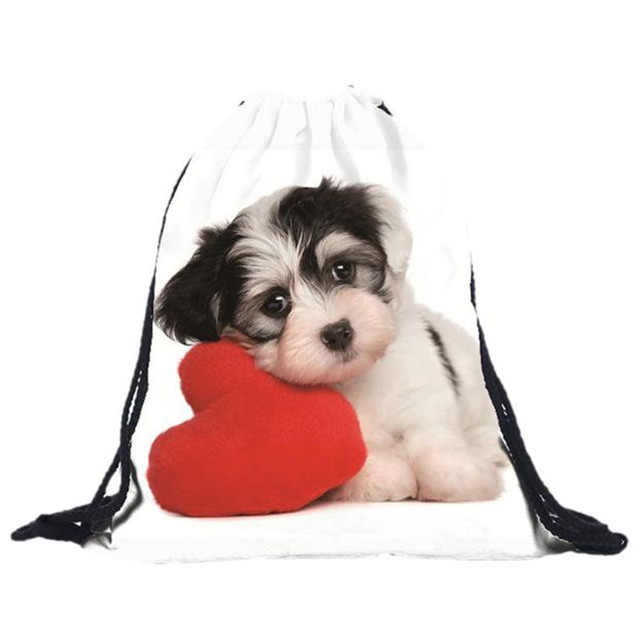 Sweet Dog Patterned Drawstring Backpack