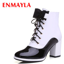 Black & white leather boots for women bow Ankle boots shoes Round Toe Winter High boots new shoes Martin Boots size34-39 1 pair thick round lace tooling martin boots men women climbing sports shoes high outdoor basketball rope shoes white black gray