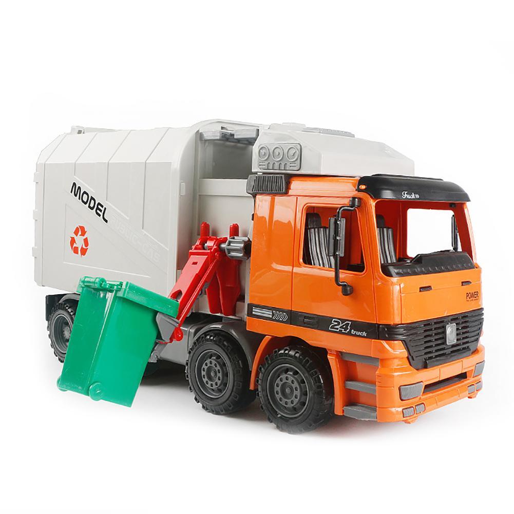 A fricção da forma pôs reciclando o brinquedo das crianças do caminhão de lixo com descarga traseira da carga lateral