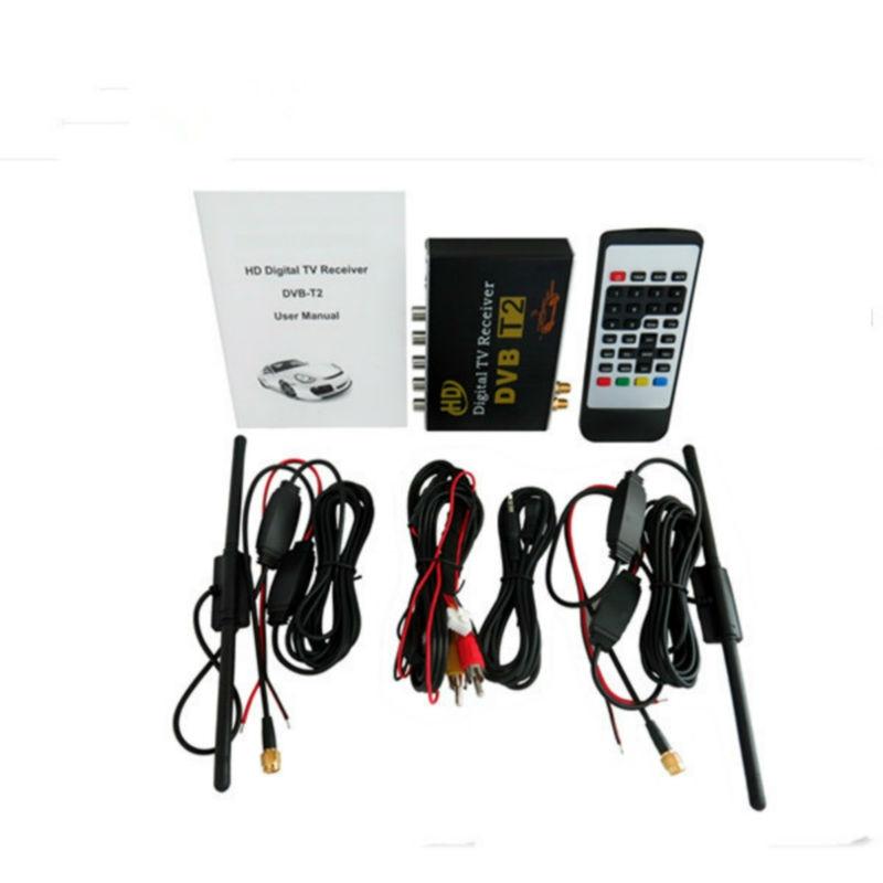 Double antenne haute vitesse HD voiture DVB-T2 double tuner voiture récepteur de télévision numérique avec fente USB