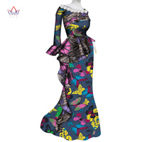 2019 New african dresses for women bazin riche style femme african clothes graceful lady print wax plus size party dress WY4588