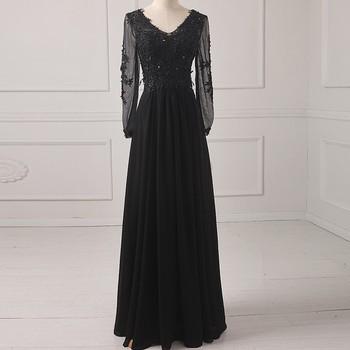 Black Chiffon A line V neck Long Evening Dresses Prom Party Dress Robe De Soiree Longue Vestido de festa Abiti da sera TK1238