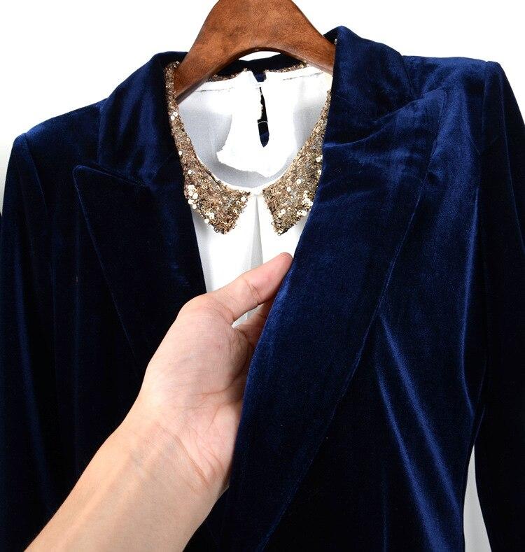 f014bb9b99 Mulher Terno De Veludo Azul Fêmea Magro Blazer De Veludo Nova Moda Terno  Ocasional do Revestimento do Revestimento das Mulheres do Revestimento do  ...