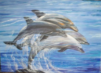Hand Painted Cute Dolphin Oil Painting on Canvas Hand painting Wall Artwork Home and Hotel Decor Modern Play Water Dolphin