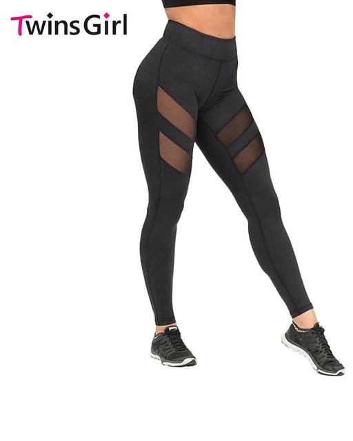 2017 Otoño Nuevas Mujeres Delgado Desgaste de la Danza Negro Mesh Leggings más el tamaño de ropa deportiva de entrenamiento leggings p0817 s m l xl xxl