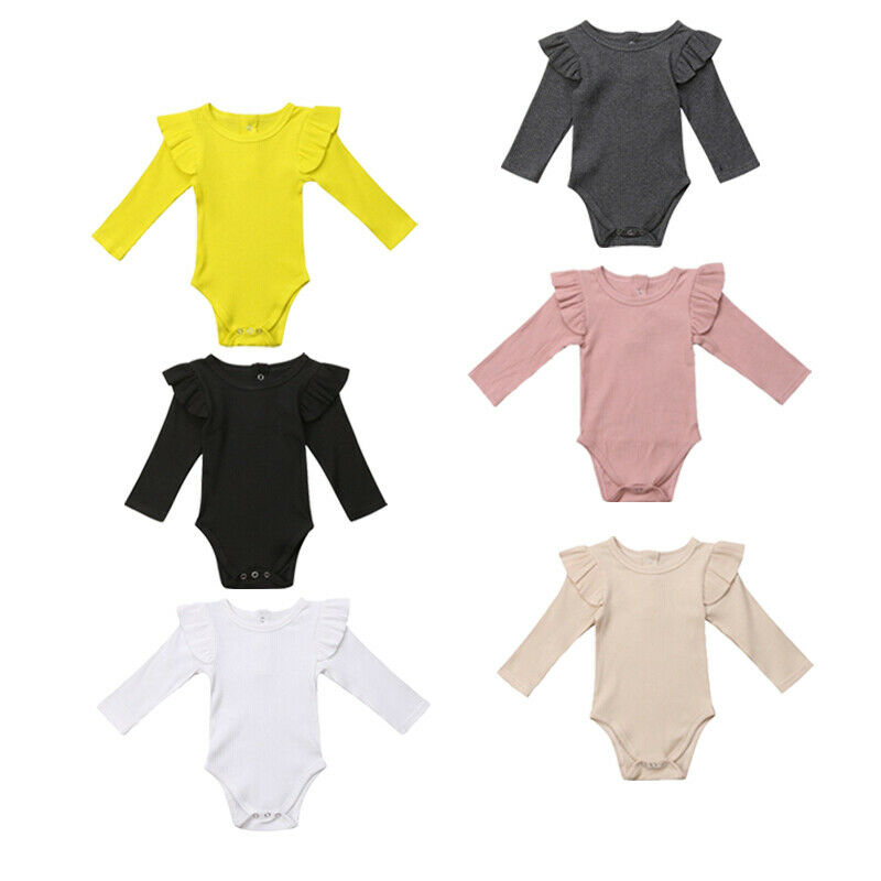 IMCUTE Outfit Romper Short-Sleeve Infant Baby-Girl Newborn One-Piece Cotton Solid