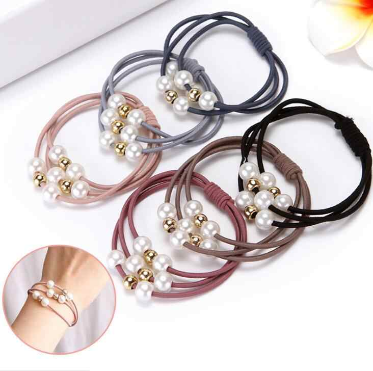 2pcs Girls pearl Elastic Rubber Band Women Three Layer hair rope  Hair Accessories Girl Imitation Pearls Ball Hair Bands Jewelry