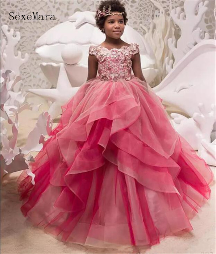 2019 Customized Ball Gown Girls Birthday Dress Off Shoulder Applique Lace Layered Tulle Flower Girls Dresses for Wedding Any Siz random floral print off shoulder top with layered details