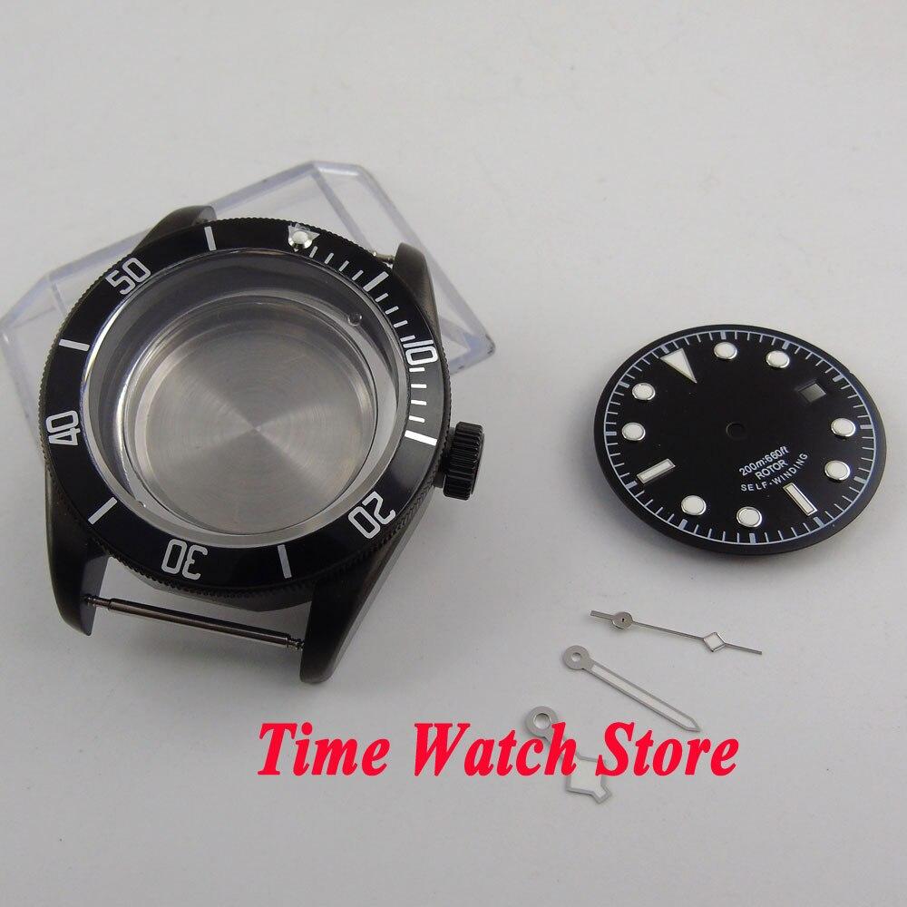 Fit ETA 2824 2836 movement 41mm sapphire glass Black PVD coated watch case +dial+hands C124 watch parts 41mm watches case for wristwatch black pvd coated cases fit for eta 2836 2824 automatic movement ca2010cap