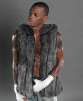 New Grey Wild Wolf Faux Fur Vest Man Fashion Winter Thick Men Waistcoats Sleeveless Coat Outerwear
