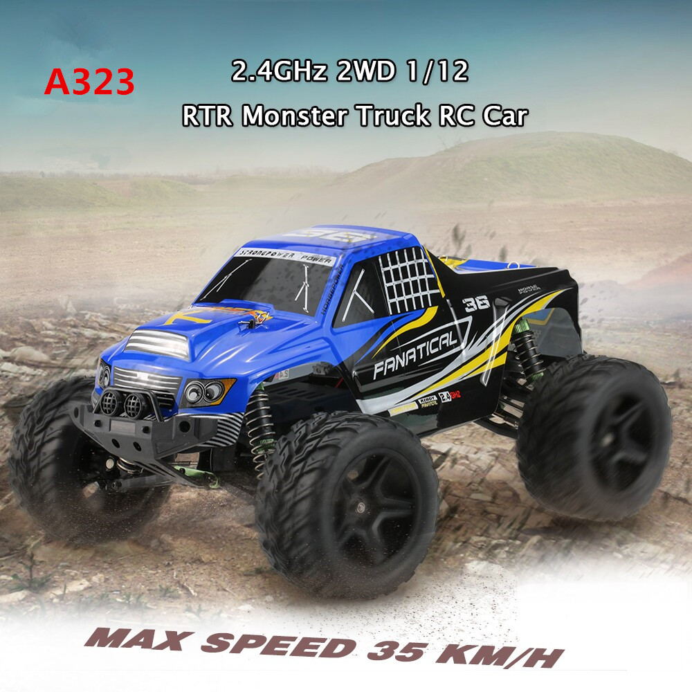 2017 new huge wheels rc racing car A323 2.4g 1/12 38cm 35KM/H 390 Motor high speed Brushed Electric RTR Monster truck toy model 2017 new arrival a333 1 12 2wd 35km h high speed off road rc car with 390 brushed motor dirt bike toys 10 mins play time