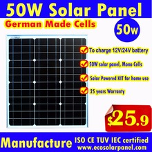 High Quality 50W Solar Panel  or 50 watt solar module to charge 12V battery by Germany mono solar cells for Solar power kit