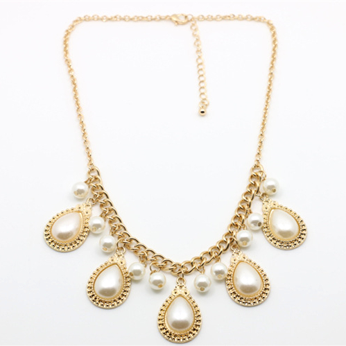 New summer Hot Selling Europe Noble big simulated pearl water drop choker gold necklace