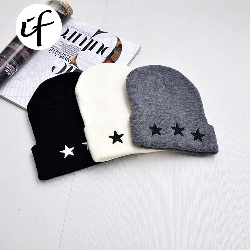 Embroidery Five-pointed Star Russia Bonnet Hat for Women Men Knitted Hats Female Bone Spring Winter Caps Beanies Girl Caps Gorro