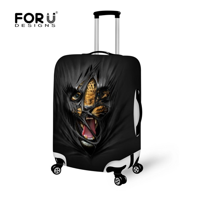 Black Travel Luggage Bag Suitcase Protective Cover Animal Prints Baggage Cover Stretch to 18 -30 Inch Travel Accessories