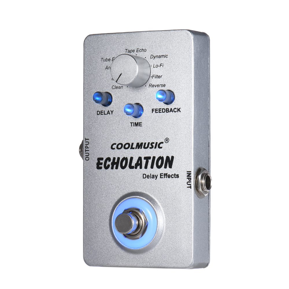 NEW Coolmusic Electric Guitar Digital Delay Effect Pedal with 9 Delay Effects True Bypass Full Metal