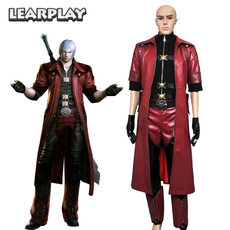 Devil May Cry 4 Dante Cosplay Costume DMC4 Men Pu Leather Suits Red Trench Black Shirt