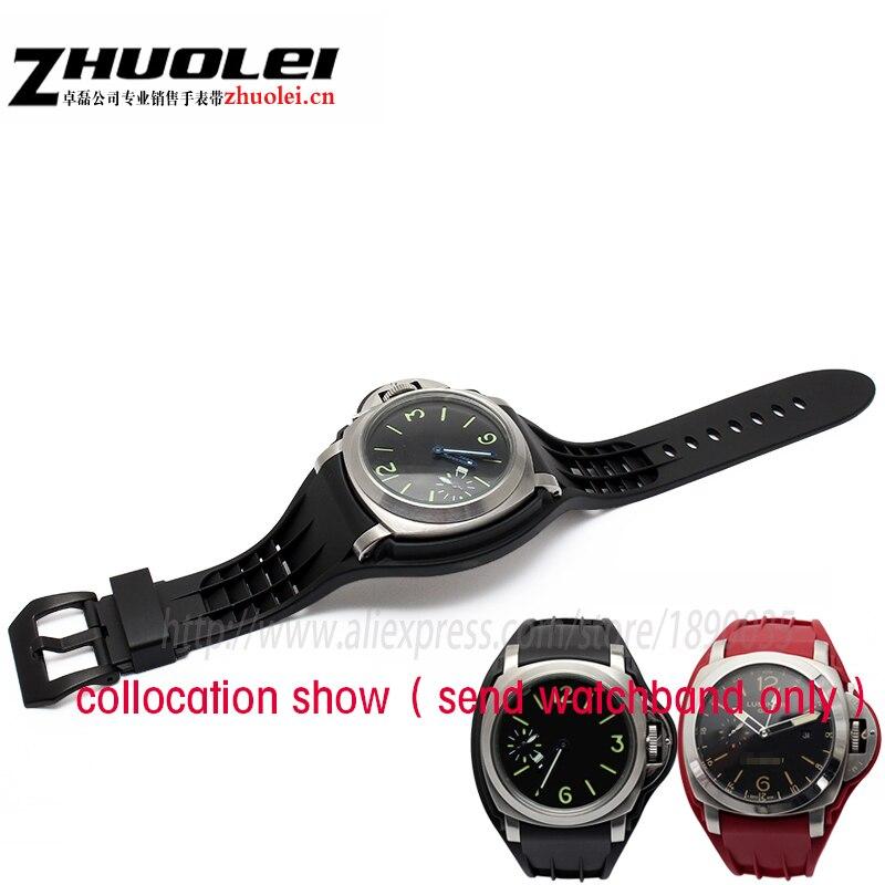 купить High quality 24mm watchband with 44mm Waterproof rubber watchcase for PAM Wrist watch black red white yellow orange drag strap по цене 2583.91 рублей